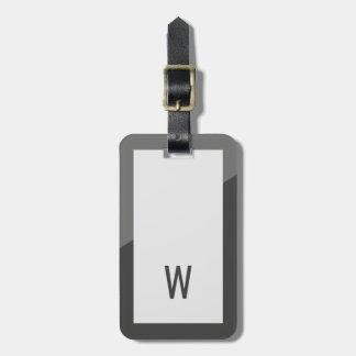 Elegant Cool Grey Geometric Monogram Luggage Tag