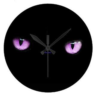 Elegant Cool Unique Purple Cat / House-of-Grosch Large Clock
