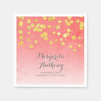 Elegant Coral and Gold Wedding Disposable Napkins