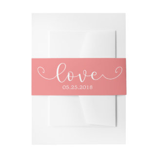 Elegant Coral and White Belly Band Invitation Belly Band
