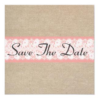 "Elegant Coral Burlap Lace Save The Date 5.25"" Square Invitation Card"