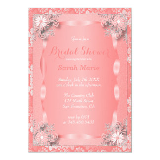 Elegant Coral Flowered Party Invitation Template
