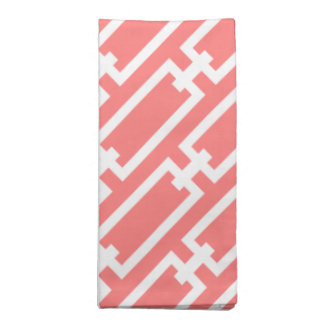 Elegant Coral Geometric Links Pattern Cloth Napkin