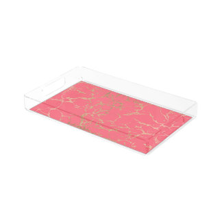 Elegant coral gold faux foil marble pattern acrylic tray