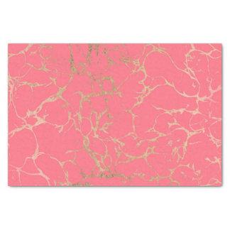 Elegant coral gold faux foil marble pattern tissue paper