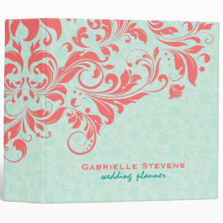 Elegant Coral & Mint-Green Vintage Floral Damasks 3 Ring Binder