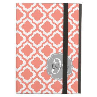 Elegant Coral Moroccan Quatrefoil Personalized iPad Air Cover