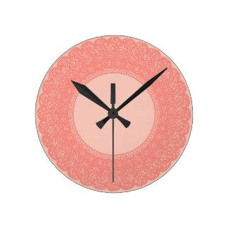 Elegant coral & peach custom design round clock