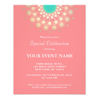Elegant Coral Pink and Gold Circle Motif Full Color Flyer