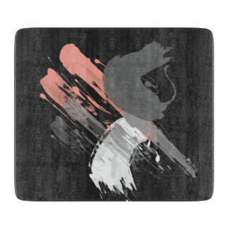 elegant coral pink white and grey brushstrokes cutting board