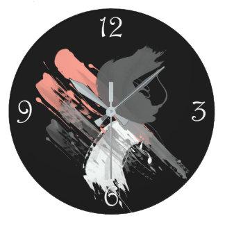 elegant coral pink white and grey brushstrokes large clock