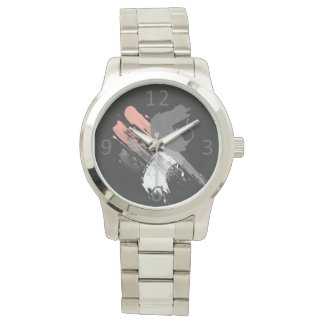 elegant coral pink white and grey brushstrokes watch