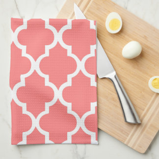 Elegant Coral Quatrefoil Tiles Pattern Kitchen Towel