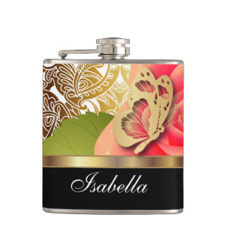 Elegant Coral Rose with DIY Text Hip Flask