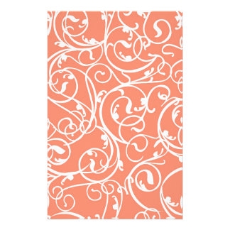 Elegant Coral Vintage Scroll Damask Pattern Stationery Paper
