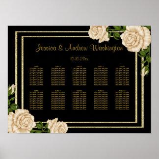 Elegant Corner Ivory Roses Wedding Seating Chart