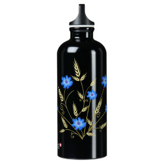 Elegant Cornflower and Wheat Stylized Design Water Bottle