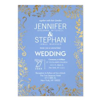 Elegant Cornflower Blue Gold Floral Wedding Card