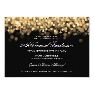 "Elegant Corporate Fundraiser Gold Lights 5"" X 7"" Invitation Card"