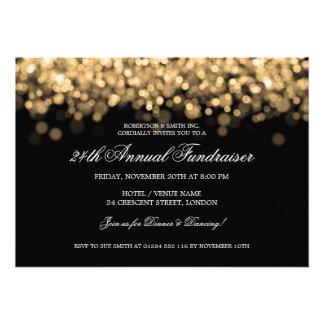 Elegant Corporate Fundraiser Gold Lights Custom Invite
