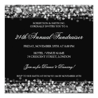Elegant Corporate Fundraiser Party Sparkles Silver Card