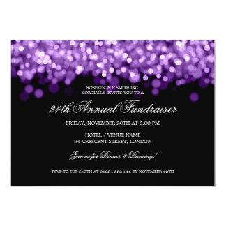 "Elegant Corporate Fundraiser Purple Lights 5"" X 7"" Invitation Card"