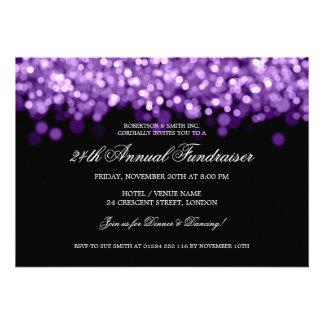Elegant Corporate Fundraiser Purple Lights Personalized Announcements