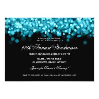 "Elegant Corporate Fundraiser Turquoise Lights 5"" X 7"" Invitation Card"