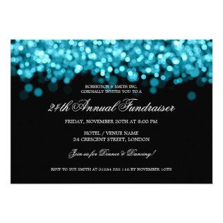 Elegant Corporate Fundraiser Turquoise Lights Custom Announcement