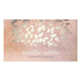 Elegant Cosmetology Faux Gold Foil Leaves Peach Business Cards