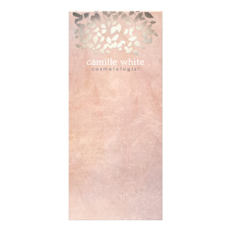Elegant Cosmetology Faux Gold Foil Leaves Peach Custom Rack Cards
