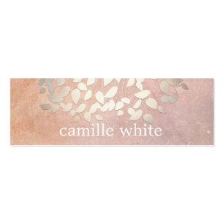 Elegant Cosmetology Faux Gold Foil Leaves Peach Mini Business Card