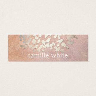 Elegant Cosmetology Faux Gold Foil Leaves Peach Mini Business Card