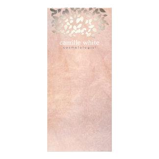 Elegant Cosmetology Faux Gold Foil Leaves Peach Rack Card Design