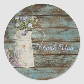 elegant country lavender vintage thank you classic round sticker