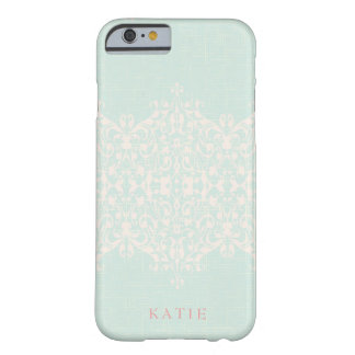 Elegant Country Mint & Peach Monogram Barely There iPhone 6 Case