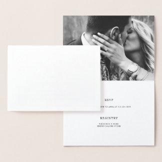 Elegant Couples Shower Engagement Photo Foil Card