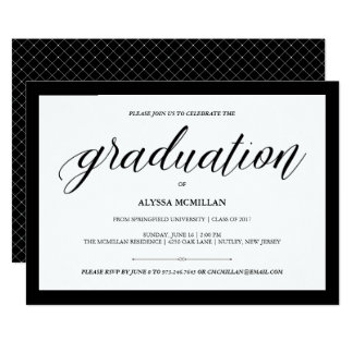 Elegant Couture | Black and White Graduation Party Card