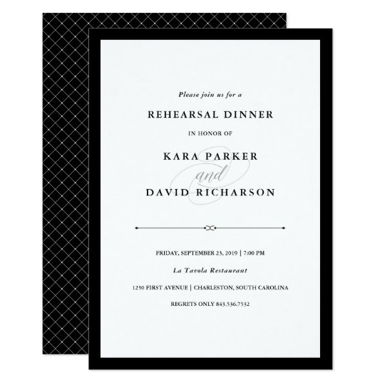 Elegant Couture | Black and White Rehearsal Dinner Card