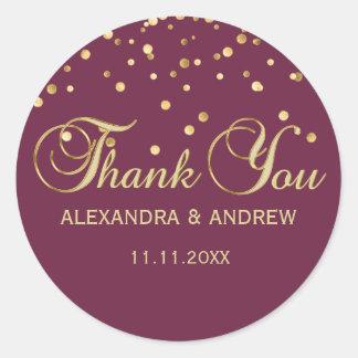 Elegant CRANBERRY Gold Wedding Thank You Classic Round Sticker