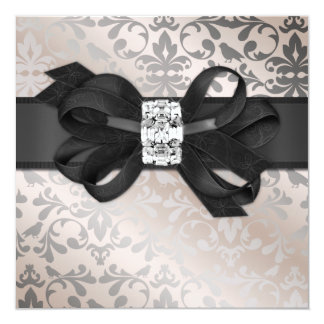 Elegant Cream and Silver Invitation with Bow
