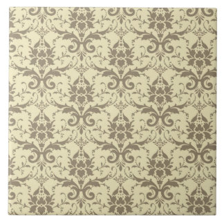 Elegant Cream and Tan Damask Tile