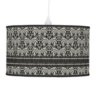 Elegant Cream Damask  Pattern On Black Pendant Lamps