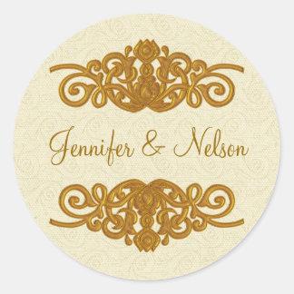 Elegant Cream & Gold Tone Wedding Envelope Seal Round Sticker