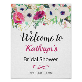 Elegant Cream Purple Flowers Bridal Shower Sign