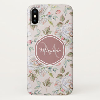 Elegant Cream Roses Floral Monogram and Name Case-Mate iPhone Case