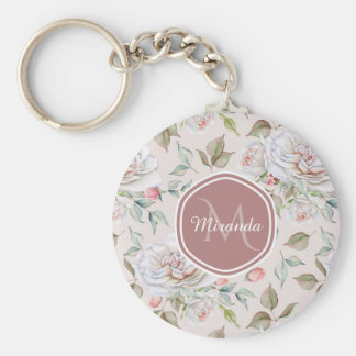 Elegant Cream Roses Floral Monogram and Name Keychain