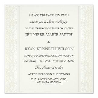 Elegant Creme Damask Wedding Invitation