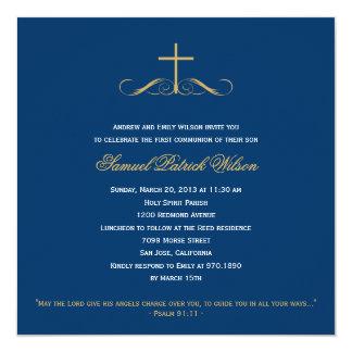 "Elegant Cross Baptism/Christening/First Communion 5.25"" Square Invitation Card"