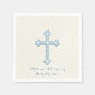 Elegant Cross Blue Christening Paper Napkins